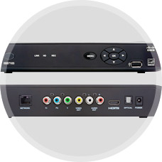 Set-top box receiver front and back sides.