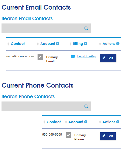 Current Email contacts Screenshot