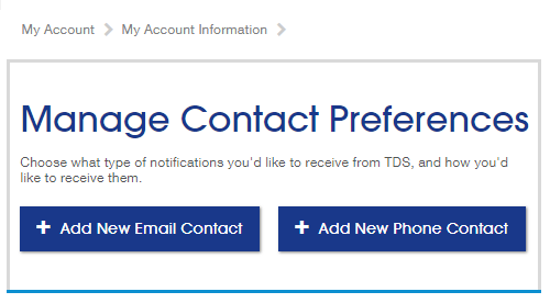 Manage contact preferences Screenshot