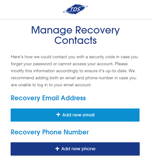 Manage recovery contacts Screenshot