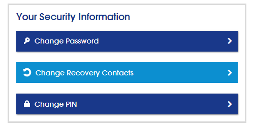 Your security information Screenshot