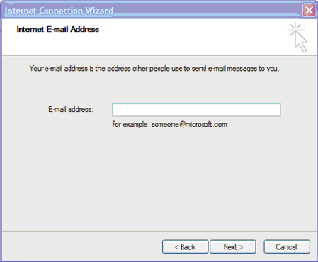 Field for Email address. Buttons for Back, Next, and Cancel.