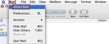 Mail option in top toolbar highlighted and active, displays dropdown with About Mail highlighted.