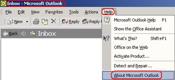 Title bar highlighted. Help button highlighted and active, displays dropdown. About Microsoft Outlook highlighted.