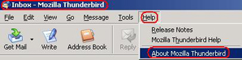 Title bar highlighted. Help button highlighted and active, displays dropdown. About Mozilla Thunderbird highlighted.