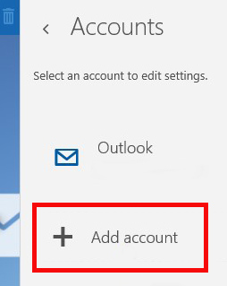 Accounts menu. Envelope icon next to Outlook and plus sign icon next to Add account. Add account is highlighted.