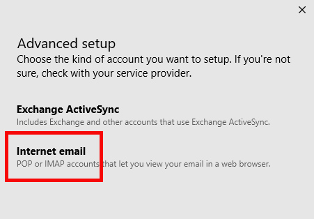 Advanced Setup menu. Options for Exchange ActiveSync and Internet Email. Internet Email is highlighted.