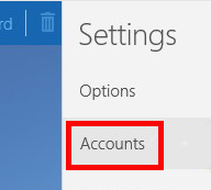 Settings menu. Buttons for Options and Accounts listed vertically. Accounts button is highlighted.